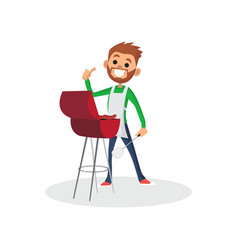 happy bearded man character in apron showing thumb vector image