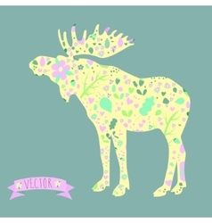 image of a moose with elements berries vector image