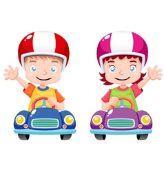Kids on car vector image vector image