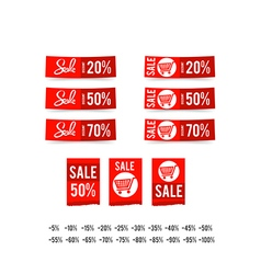 Set of sale tag circle banner ribbon paper 003 vector image vector image