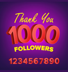 thank you 1000 followers card web image vector image