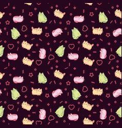 animal print pattern cute kawaii style cat kitten vector image vector image