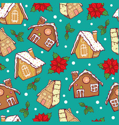 blue and brown gingerbread houses and vector image
