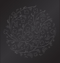 chalk floral ornament of grape vines and bu vector image vector image