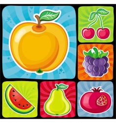 colorful fruity icons vector image vector image