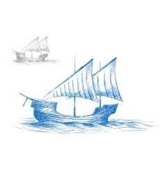 Sketch of old medieval sailing ship vector image