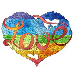 sketchy doodle rainbow heart vector image