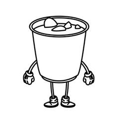 soup ramen food japanese cartoon character outline vector image vector image