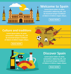 spain travel banner horizontal set flat style vector image
