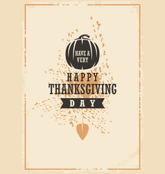 thanksgiving day typographic card design vector image vector image