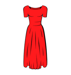 womens red dress icon cartoon vector image vector image