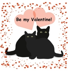 Be my Valentine lettering card with two black cats vector image