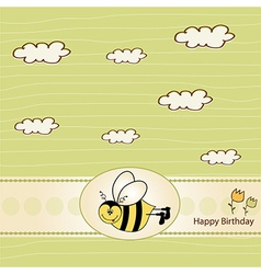 Birthday greeting card with bee vector