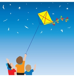Children with a kite and birds in the sky vector image vector image