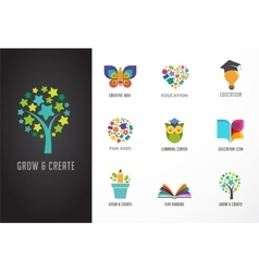 Education icons elements set vector image vector image