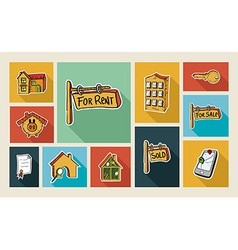 Real estate sketch style flat icon set vector image