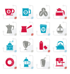 stylized different types of coffee industry icons vector image vector image