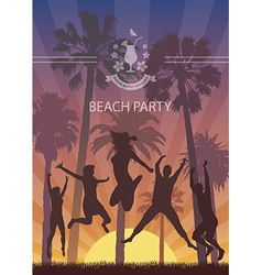 Summer Exotic Banner with Palm Trees for Beach vector image