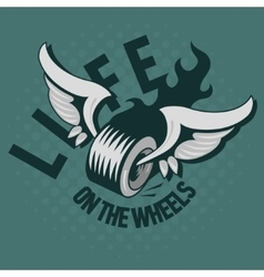 A Wheel With Wings And A Fire Life On The Wheels vector image