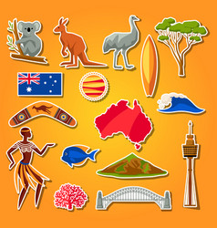 Australia icons set australian traditional vector