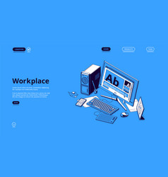 banner workplace with isometric computer vector image