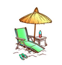 Beach chair with straw umbrella monochrome vector
