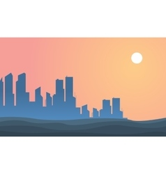 Beautiful landscape urban city of silhouette vector image
