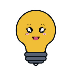 Bulb light comic character isolated icon vector