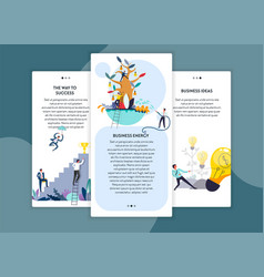 Business energy and ideas way to success web pages vector
