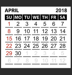 calendar sheet april 2018 vector image