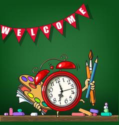cartoon alarm clock with school supplies on vector image