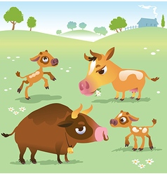 Cartoon cow set cows bull and calf bull vector image