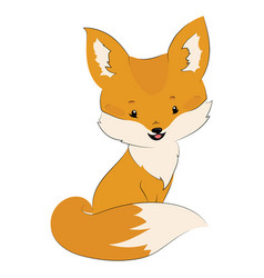 cartoon fox is sitting stylized cute fox vector image