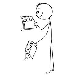 Cartoon man or businessman looking at calendar vector