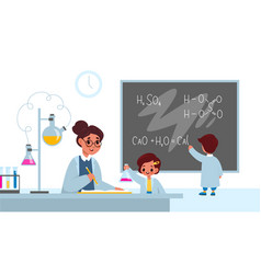 chemistry lesson students in classroom interior vector image