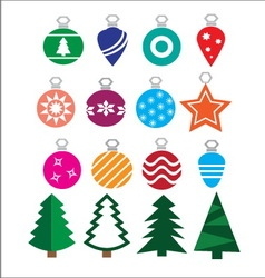 Christmas balls and trees vector