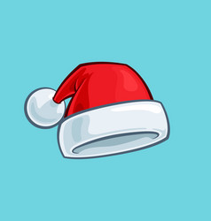christmas cartoon icon - red santa hat vector image