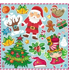 Christmas symbols set vector image
