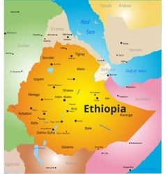 Color map of Ethiopia vector