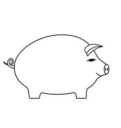 Contour cartoon pig vector