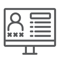criminal database line icon data and crime vector image