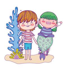 cute mermaid with boy undersea vector image