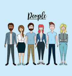 Cute people with hairstyle and different wears vector