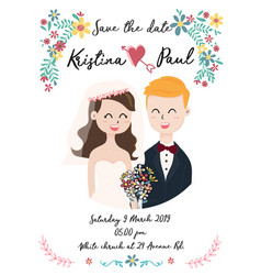 cute wedding card with couple in flower wreath vector image