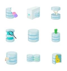 Data cloud icons set cartoon style vector image