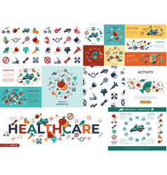 Digital healthy activity lifestyle icons vector