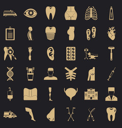 Drugstore icons set simple style vector