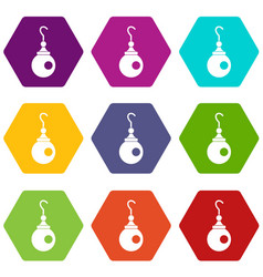 earring icon set color hexahedron vector image