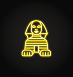 Egyptian sphinx icon in glowing neon style vector