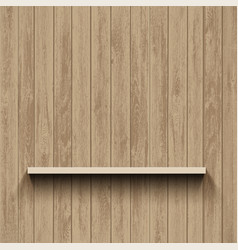 empty shelf on wooden wall template background vector image
